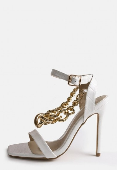 Missguided white chunky chain heeled sandals ~ chain detail high heel sandal