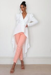 MISSGUIDED white co ord waterfall hem puff sleeve blazer ~ hi-low blazers