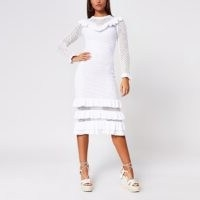 River Island White crochet ruffle midi dress – semi sheer panel dresses