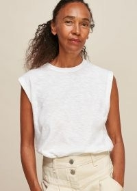 WHISTLES EASY MUSCLE VEST TOP / essential white T-shirt