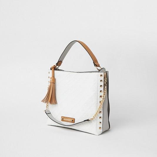 RIVER ISLAND White embossed slouch bag / branded colourblock handbag