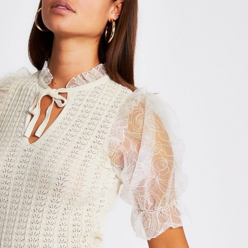 River Island White floral organza sheer sleeve top – frill trimmed puffed sleeves - flipped