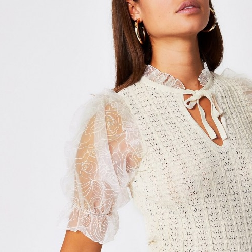 River Island White floral organza sheer sleeve top – frill trimmed puffed sleeves