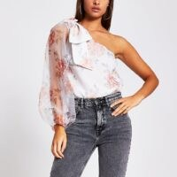 River Island White floral print one shoulder organza top | sheer sleeve tops