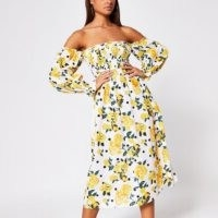 RIVER ISLAND White floral shirred bardot midi dress / off the shoulder dresses / yellow fower prints