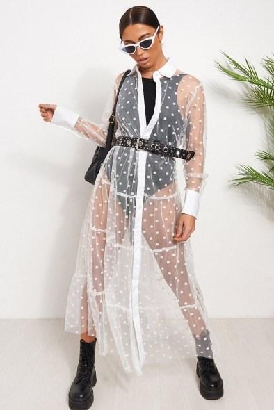 THE FASHION BIBLE WHITE FRILL MESH POLKA DOT SHIRT DRESS / sheer fashion - flipped