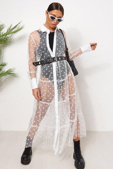 THE FASHION BIBLE WHITE FRILL MESH POLKA DOT SHIRT DRESS / sheer fashion