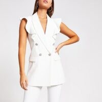 RIVER ISLAND White frill sleeveless double breasted blazer ~ ruffled blazers