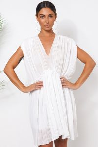 The Fashion Bible WHITE GRECIAN CHIFFON PLEATED DRESS