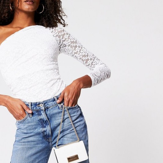 RIVER ISLAND White lace one shoulder bodysuit - flipped