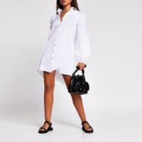 River Island White long ruched sleeve mini shirt dress | balloon sleeved dresses