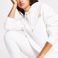 RIVER ISLAND White long sleeve branded RR hoodie / hoodies