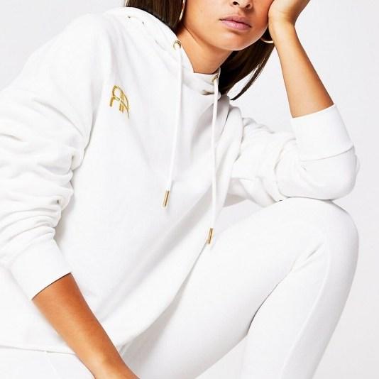 RIVER ISLAND White long sleeve branded RR hoodie / hoodies - flipped