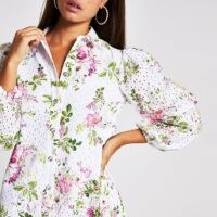 River Island White long sleeve floral broderie mini dress | feminine shirt dresses