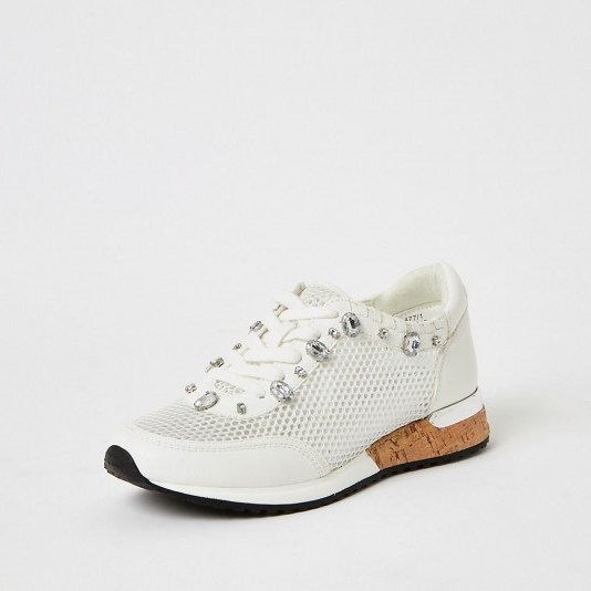 RIVER ISLAND White mesh gem runner trainers / embellished sneakers - flipped