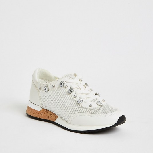 RIVER ISLAND White mesh gem runner trainers / embellished sneakers