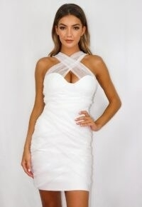 MISSGUIDED white mesh ruched bandeau bandage mini dress ~ sheer overlay bodycon