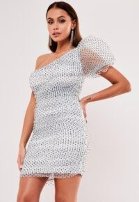 Missguided white organza polka dot one shoulder mini dress ~ evening puff sleeve bodycon