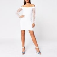River Island White organza puff sleeve bardot mini dress