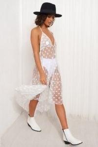 THE FASHION BIBLE WHITE POLKA DOT BEACH DRESS / sheer beachwear / pool side cover up