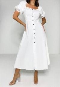 Missguided – white puff sleeve button through midi dress