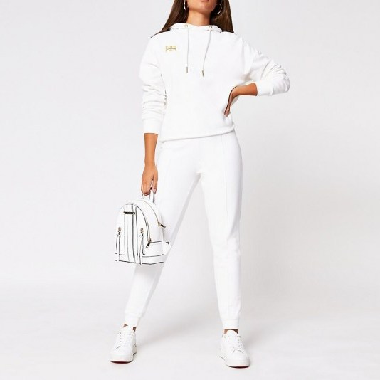 RIVER ISLAND White RR branded tie waist jogger / cuffed joggers / jogging bottoms - flipped