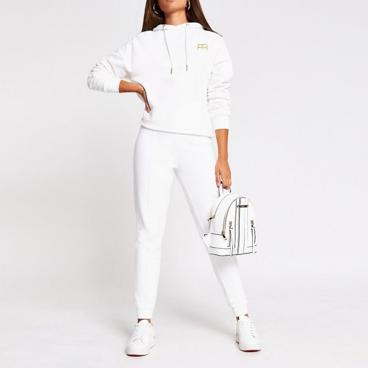 RIVER ISLAND White RR branded tie waist jogger / cuffed joggers / jogging bottoms