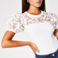RIVER ISLAND White short sleeve organza puff sleeve top / semi sheer tops
