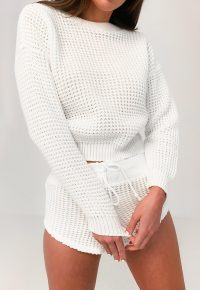 Missguided white waffle jumper and shorts knitted co ord set | loungewear knits
