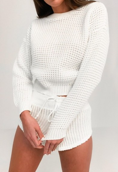 Missguided white waffle jumper and shorts knitted co ord set | loungewear knits - flipped