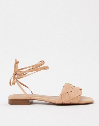 Nude strappy flats | Who What Wear Marlena woven tie up flat sandals in blush leather - flipped