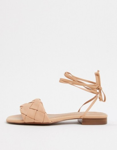 Nude strappy flats | Who What Wear Marlena woven tie up flat sandals in blush leather
