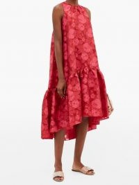 ERDEM Winsloe drop-hem floral-jacquard organza dress / red hi-low dresses
