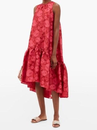 ERDEM Winsloe drop-hem floral-jacquard organza dress / red hi-low dresses - flipped