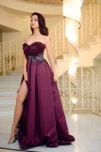 Gorgeous purple gown with split leg