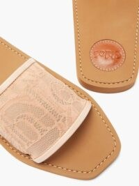 CHLOÉ Woody light-pink logo-lace and leather slides