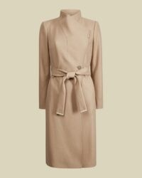 Ted Baker ROSE Wool wrap coat ~ belted high neck camel coats