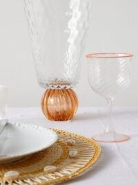 CAMPBELL-REY X Laguna B set of two Cosima wine glasses ~ orange rimmed glass ~ Italian dinner table glassware