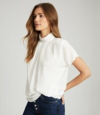 REISS YARA HIGH NECK TOP IVORY – effortless daily style tops