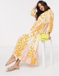 Y.A.S Petite maxi smock dress in mixed yellow floral | vintage look patchwork prints