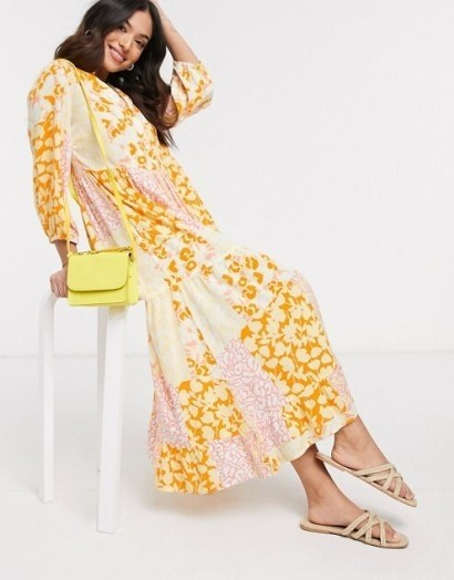 Y.A.S Petite maxi smock dress in mixed yellow floral | vintage look patchwork prints - flipped