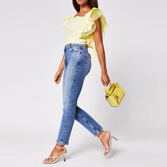 River Islabd Yellow sleeveless square neck hybrid top   frilled tops - flipped
