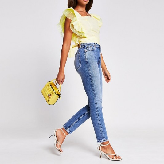 River Islabd Yellow sleeveless square neck hybrid top   frilled tops