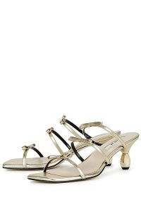 YUUL YIE Grace 75 gold leather sandals ~ strappy bow embellished mules