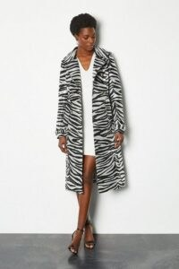 KAREN MILLEN Zebra Belted Trench Coat / instant glamour to any outfit