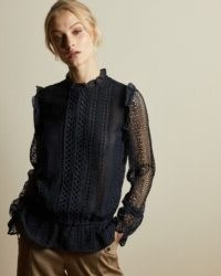 COMSEE Zip up lace top dark blue ~ frill trimmed sheer-sleeved tops