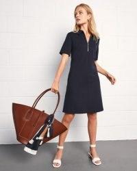 JIGSAW A LINE PONTE ZIP NECK DRESS / simple navy blue day dresses