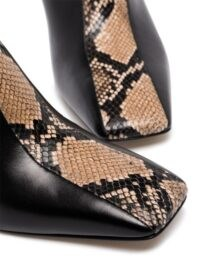 aeyde Jude 75mm snake-effect mules in black / brown ~ square toe mule