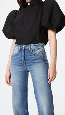 Aje Mottled Shirt Black | voluminous puff sleeves | short balloon sleeve tops - flipped