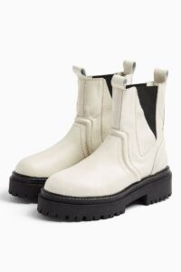 TOPSHOP ALBIE Ecru Leather Chunky Chelsea Boots ~ chunky mono boot